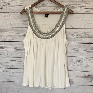 TORRID Ivory Beaded Embellished Tank Top Size 1X